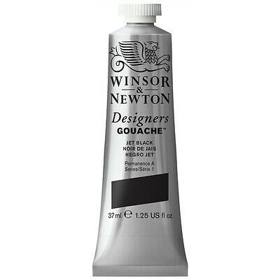 Winsor & Newton Winsor and Newton-Gouache Color 37ml Jet Black-0 614335 NEW
