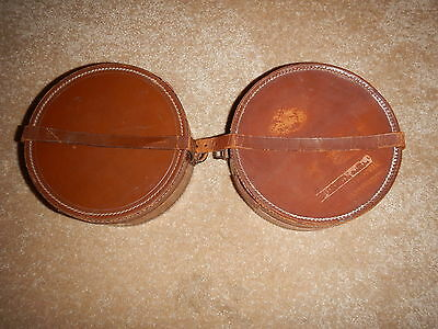 2xVintage Leather Collar Boxes.Leather,Man Box / Xmas Present - Many Uses