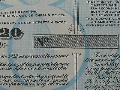 RARE 1922 China £20 CHINESE GOVERNMENT 8% RAILWAY EQUIPMENT LOAN ALL COUPONS