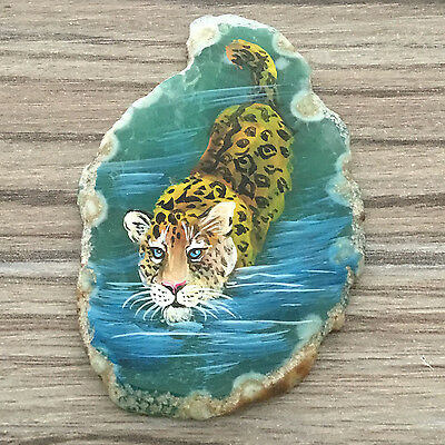 New! Hand Painted Leopard Agate Slice Gemstone Necklace Pendant Zp80 00160