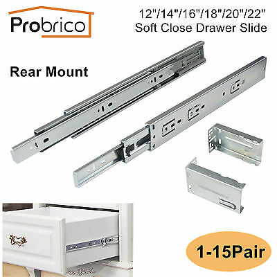12-22In Soft Close Full Extension Drawer Slides Rear Mount Ball Bearing+Brackets