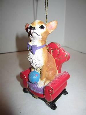 Chihuahua Christmas ornament  dog puppy royal red gold chair purple bow resin