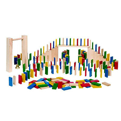 Wooden Domino Rally, Domino Race 250 piece set with storage bag and accessoires
