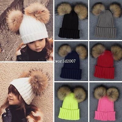 Kids Toddler Children Large Raccoon Fur Hat Double Pom Winter Knitted Beanie Cap