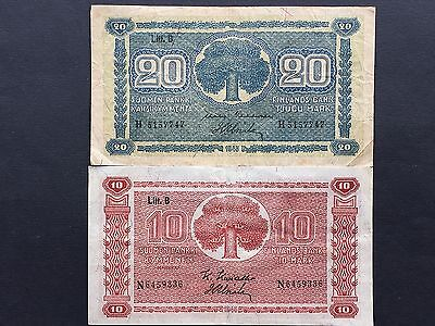 Finland 10 & 20 Markkaa P85 P86 Dated 1945 Issued 1948 Fine VF
