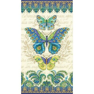 """Peacock Butterflies Counted Cross Stitch Kit-8""""X15"""" 14 Count"""