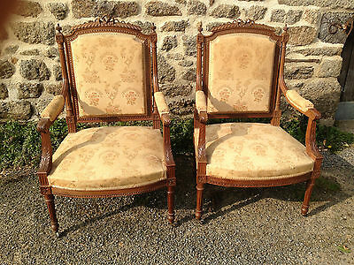 Pair Antique French Louis XVi Style Carved Arm Chairs from Chateau de Fougeres