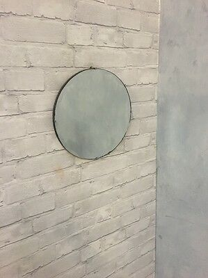 Vintage Wall Mirror on chain Art Deco Round Bevelled Edge Scalloped Retro