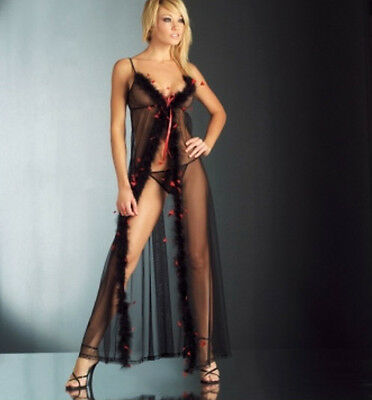 Sheer Black Red Long Sheer Feather Marabou Babydoll Gown Chemise G String S M L