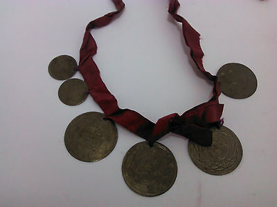 ANTIQUE very OLD OTTOMAN TURKISH ISLAMIC NECKLACE BRASS with GOLD PLATE COINS