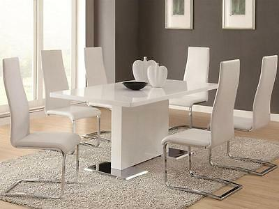 AVENITA - 7pcs Modern White Rectangular Dining Room Table & Chairs Set Furniture