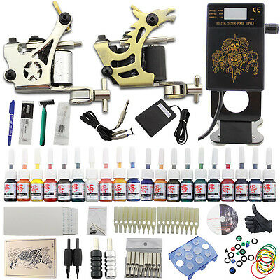 Rotary Profi Komplett TattooMaschine Set Tattoo Kit 20 Farben Ink 50 Nadeln