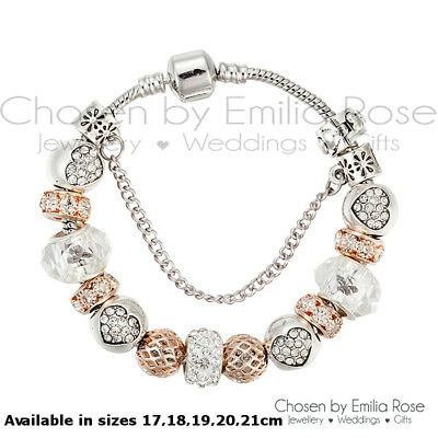 925 Silver Rose Gold Crystal Charms Bracelet Rhinestone Charm Jewelry Gift Girls