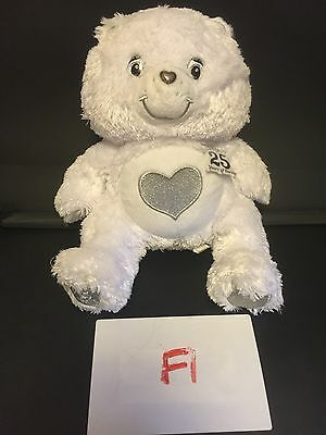 Official Care Bears 25th Anniversary Silver Heart Bear - Soft Plush Toy / Teddy