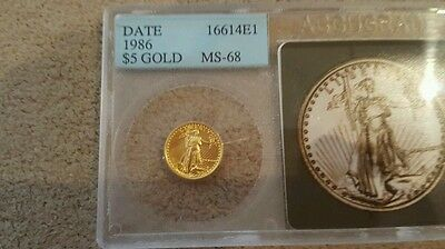 1986 USA Golden Eagle 1/10 oz $5 Gold coin MS-68 graded - 1st year of issue