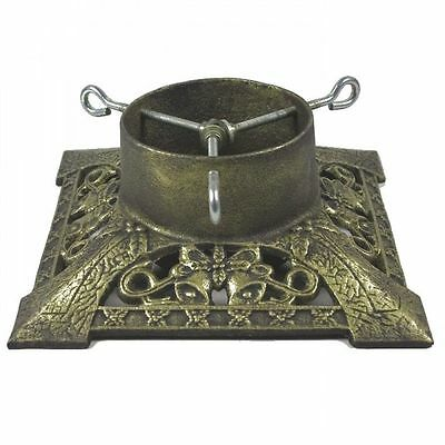 Cast Iron Heavy Duty Victorian Christmas Xmas Tree Stand - Antique Gold