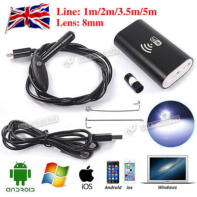 720P HD 30fps Waterproof WiFi Endoscope Inspection Camera for iPhone Android UK