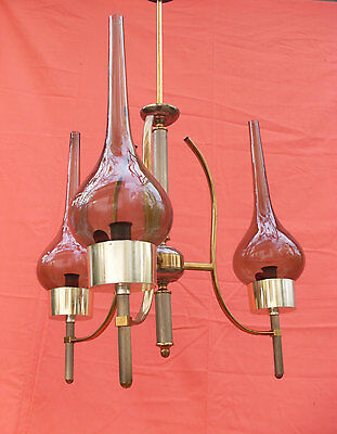 Vintage 3 Bulb Italian Chandelier, Smoked Round Glass with Bronzed Brass 1960