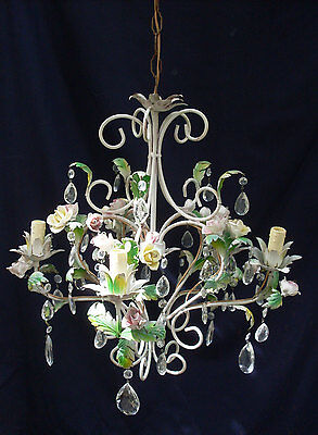 Vtg 5 Arm, Baroque chandelier w roses & glass pendents,shabby chic, wrought iron