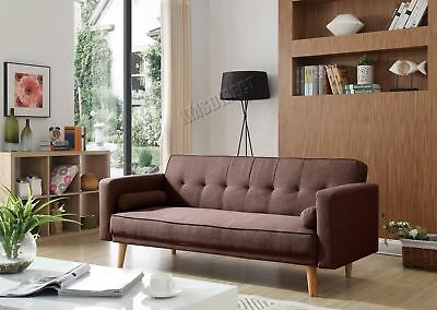 FoxHunter Fabric Sofa Bed 3 Seater Couch Luxury Home Furniture Coffee FSB04 New