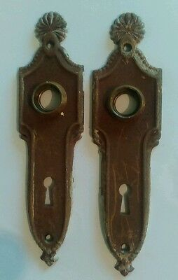 Antique Door Fancy Back Plate Pair