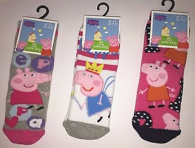 1 x Peppa Pig Girls Socks Slipper Non Slip Gripper Choose From 3 Designs