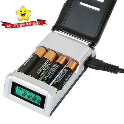 Stock Hot Fast Alkaline AND Ni-Mh Intelligent LCD AA and AAA Battery Charger UK