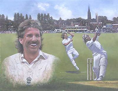 Legends Of Cricket 'clearance' Ian Botham ~ Hand Signed By Artist~By Dave Thomas