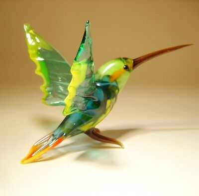 "Blown Glass ""Murano"" Art Green, Yellow and Blue HUMMINGBIRD Bird Figurine"