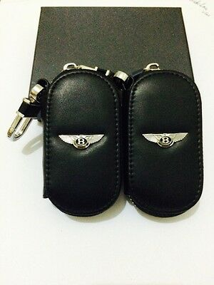 Bentley Leather Key Cover Case Holder Ring Chain Fob !