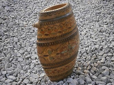 Old Rare Antique Wooden Flask Canteen Keg Barrel With Hand Made Painted