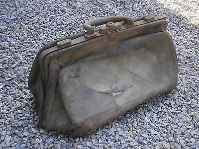 Old Rare Antique Primitive Leather Bag Doctor Bag