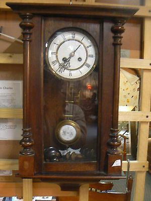 Pretty Antique Walnut Wall Clock  In Working Order