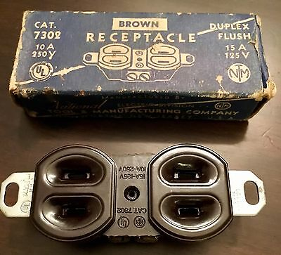 Vintage National Tool & mfg.co. Brown Receptacle CAT. 7302 New Jersey FREE SHIPP
