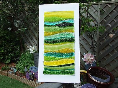 Fused Glass Art On Canvas `Yorkshire Hills in Summer`