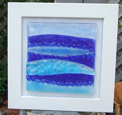 Fused Glass Art in frame `Yorkshire seascape 3`