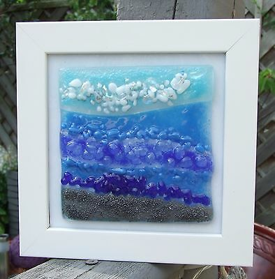 Fused Glass Art in frame `Yorkshire seascape 2`