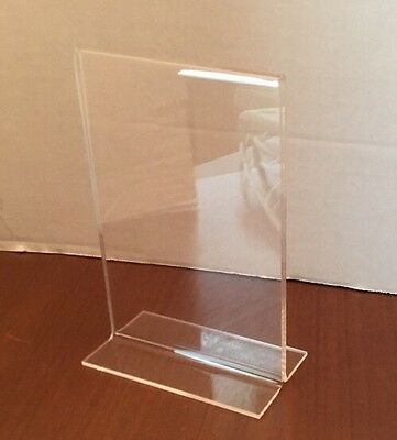 """New Lot 52 Clear Acrylic Table Card Menu Holder Stand Restaurant 4"""" X 6"""""""