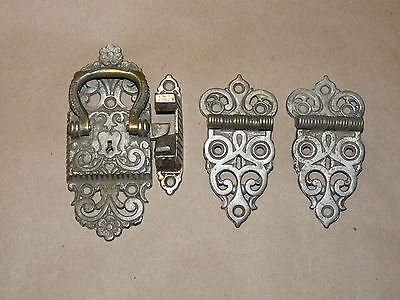Four Piece Ornate Nickel Ice Box/Chest Hardware Hinges & Latch Pat 1897 INV9884