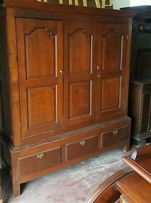 Victorian Period Two Part Solid Oak Panel Hang Cupboard