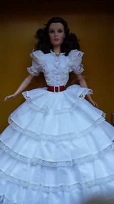 2014 Gone With The Wind Barbie Scarlett O'Hara doll white dress Vivien Leigh