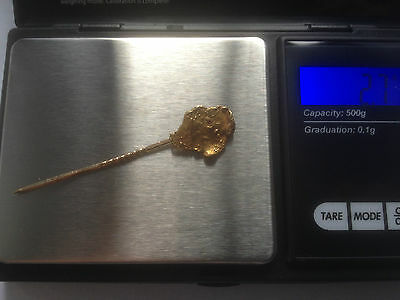 2.7gram stunning cali genuine pure gold nugget on 14k antique stick pin lovely