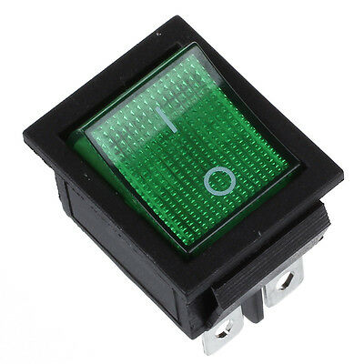 Green Light 4 Pin DPST ON/OFF Snap in Boat Rocker Switch 16A/250V 15A/125V AC AD