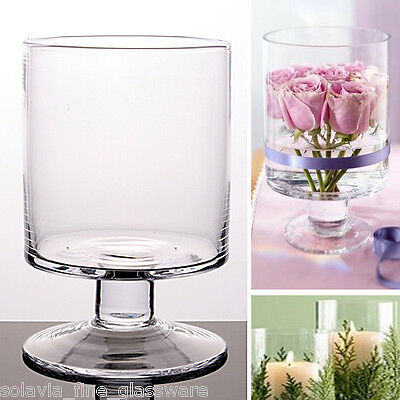 1 x Glass Handmade Cylinder Candle Holder Yankee Table Vase 14.5 / 10.5 cm