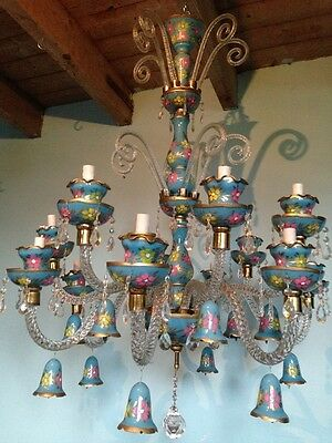 Antique venetian chandelier in beatiful pastile colors, Italian model