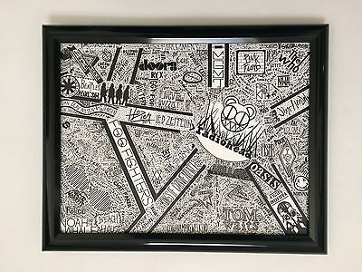 Framed 1000 Punk & Thrash Bands Ink Drawing: Print