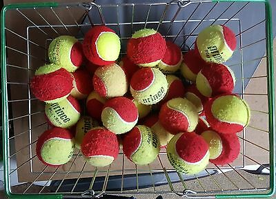 30 Used Tennis Balls - Red & Yellow - Low Pressure - Ball Games - Dog Ball Toy.