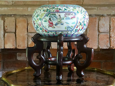Stunning Antique Chinese Famille Rose Jardiniere Plant Bowl & Rosewood Stand