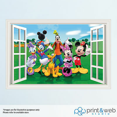 Mickey Mouse 3D Window View Decal Wall Sticker Home Decor Art Mural Kids