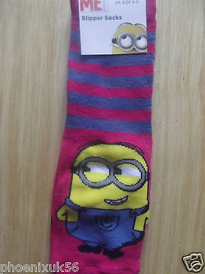 minions girls slipper socks 1 pair -size 9-11 - pink -stocking filler